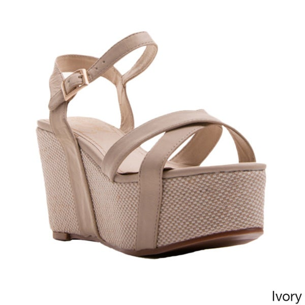 Nvy Women's 'Holy Grail' Open-toe Ankle Strap Platform Wedges