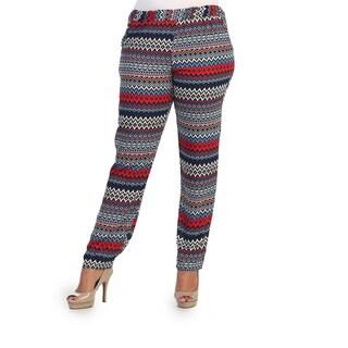 Hadari Women's Plus Size Printed Chiffon Straight-leg Pan