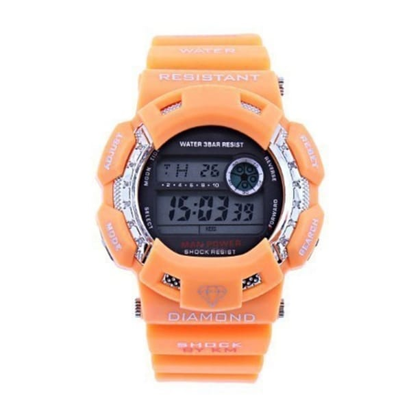 Orange Stainless Steel Digital Diamond Rubber Watch