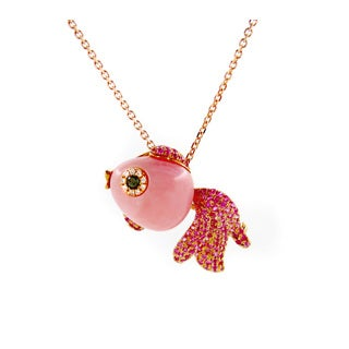 Kabella Luxe 18k Yellow Gold Diamond Accent and Sapphire Fish Pendant Necklace