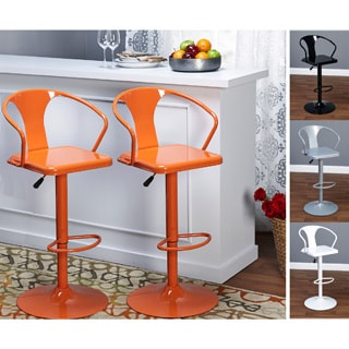 Retro Colored Metal Adjustable-height Swivel Bar Stools (Set of 2)