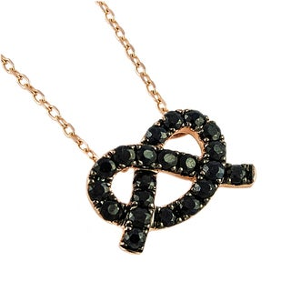 Beverly Hills Charm 'Love Knot' 14k Rose Gold Black Sapphire Knot Necklace