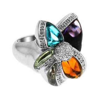 Sonia Bitton 14k White Gold 1/3ct TDW Diamond and Multi-gemstone Ring