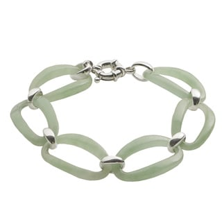 Gems For You Sterling Silver 8-inch Jade Link Bracelet