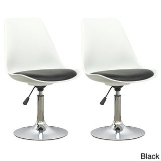 CorLiving White Adjustable Chair with Leatherette Seat (Set of 2)