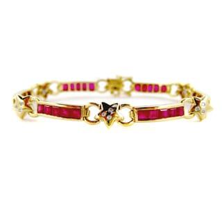 Kabella 14k Yellow Gold Ruby Diamond Star Estate Bracelet