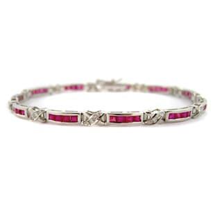 Kabella Mod Vintage 14k White Gold 1/8ct TDW Diamond Princess-cut Ruby 'X' Estate Bracelet
