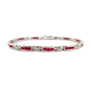 Kabella Mod Vintage 14k Gold 1/6ct TDW Diamond Princess-cut Ruby Estate Bracelet
