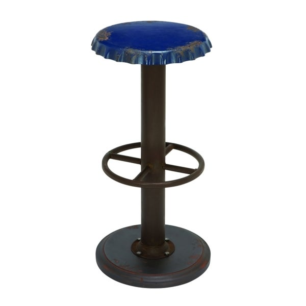 Unique Blue Bar Stool with Soda Cap Seat