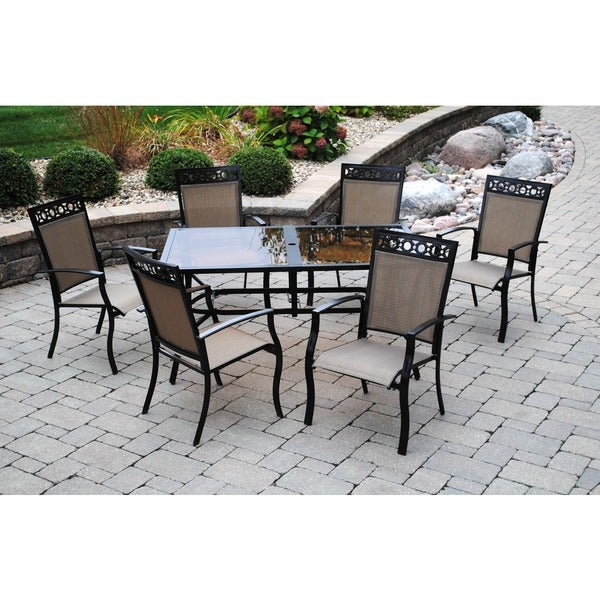 Sun Casual Acadia 7-piece Dining Set with Decorative Header
