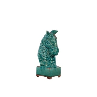 Turquoise Antique Ceramic Horse Head
