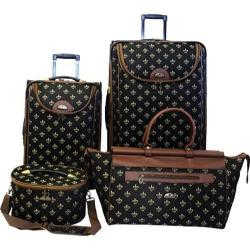 American Flyer Travelware Fleur De Lis 4-Piece Luggage Set Black