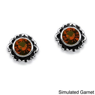 PalmBeach Simulated Birthstone Gemstone Stud Earrings Color Fun