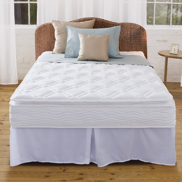 Priage 10-Inch Pillow Top Queen-size iCoil Spring Mattress and Steel Foundation Set