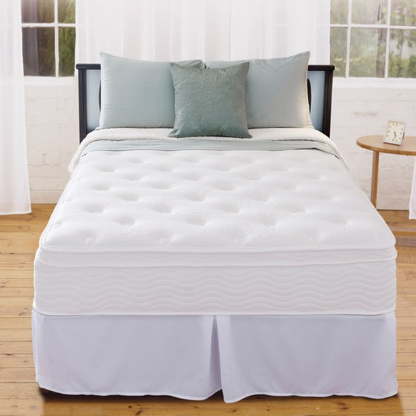 Priage 12-inch Euro Box Top Queen-size iCoil Spring Mattress and Steel Foundation Set