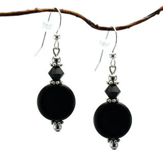 Jewelry by Dawn Jet Black Glass Coin Dangle Earrings