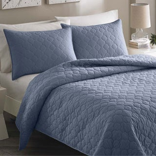 City Scene Moroccan Medallion Bay Blue Cotton 3-piece Quilt Set