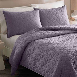 City Scene Moroccan Medallion Shadow Purple Cotton 3-piece Quilt Set