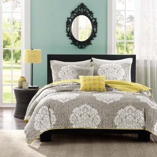 Intelligent Design Ciara Grey Damask 3-piece Coverlet Set