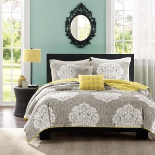 Intelligent Design Ciara Grey Damask Coverlet Set