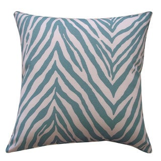 Zebra Teal Outdoor Throw Pillow