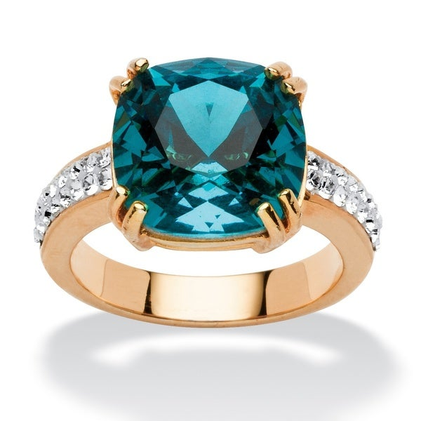 Cushion-Cut Denim Blue Crystal Ring MADE WITH SWAROVSKI ELEMENTS in Yellow Gold Tone Color 13209167