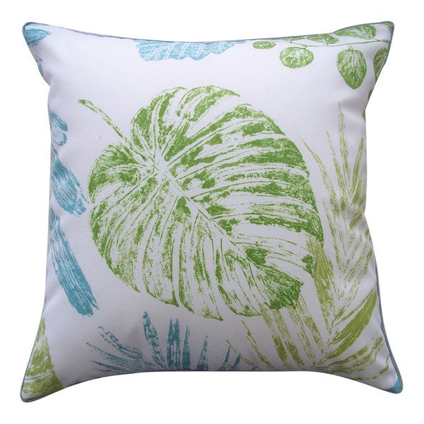 Grape Leaf Aqua Outdoor Throw Pillow