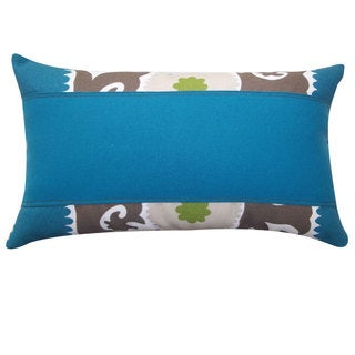 Zani Pieces Teal Outdoor Throw Pillow