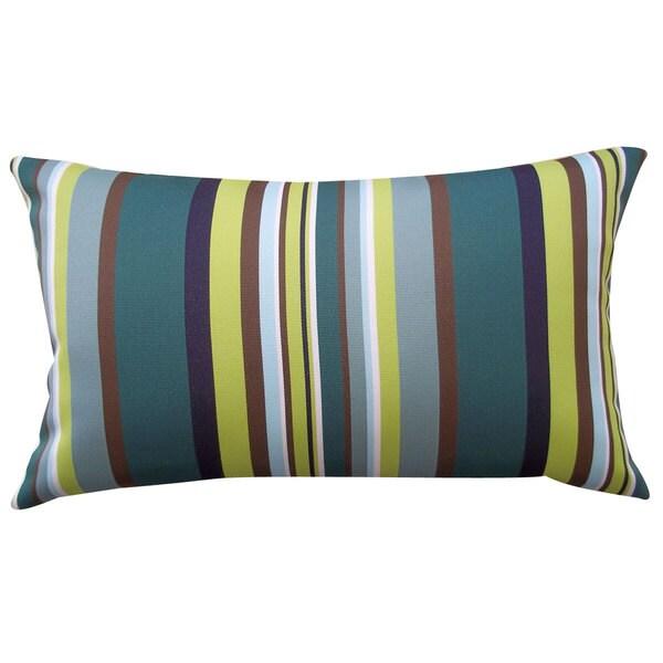 Aloe Stripe Teal Outdoor Throw Pillow