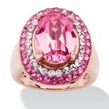 PalmBeach Jewelry Rose Gold-Plated Rose Crystal Cocktail Ring Made with SWAROVSKI ELEMENTS Color Fun