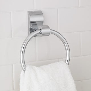 Modern Wave Chrome Towel Ring