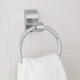 Modern Wave Chrome Towel Ring