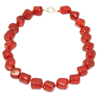 Gardenia Jewelry Red Coral Nugget Necklace