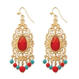 PalmBeach Red Crystal Scrollwork Chandelier Earrings in Yellow Gold Tone Bold Fashion