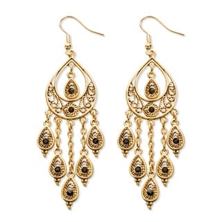 PalmBeach Black Crystal Teardrop and Chain Chandelier Earrings in Yellow Gold Tone Bold Fashion