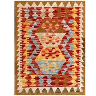 Herat Oriental Afghan Hand-woven Tribal Kilim Red/ Ivory Wool Rug (2'3 x 2'11)