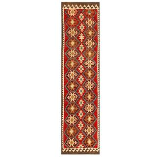 Herat Oriental Afghan Hand-woven Tribal Kilim Red/ Grey Wool Rug (2'7 x 9'11)