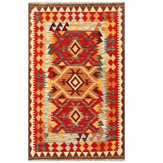 Herat Oriental Afghan Hand-woven Tribal Kilim Red/ Gold Wool Rug (3' x 4'10)