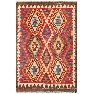 Herat Oriental Afghan Hand-woven Tribal Kilim Red/ Gold Wool Rug (3'2 x 4'9)