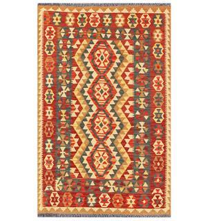 Herat Oriental Afghan Hand-woven Tribal Kilim Red/ Beige Wool Rug (3'4 x 5'5)