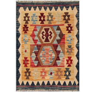 Herat Oriental Afghan Hand-woven Tribal Kilim Gold/ Navy Wool Rug (2'2 x 3'1)