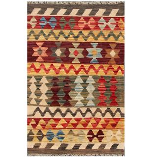 Herat Oriental Afghan Hand-woven Tribal Kilim Red/ Green Wool Rug (2'1 x 3'2)