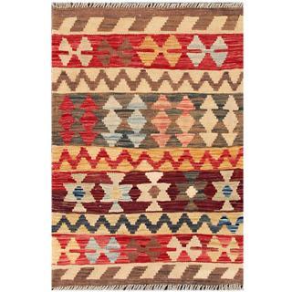Herat Oriental Afghan Hand-woven Tribal Kilim Red/ Beige Wool Rug (2'1 x 3'2)