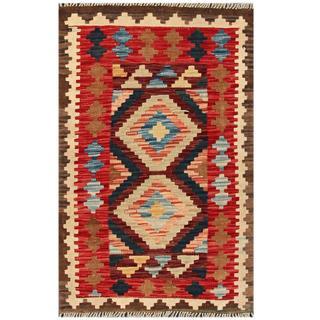 Herat Oriental Afghan Hand-woven Tribal Kilim Red/ Beige Wool Rug (2'1 x 3'4)