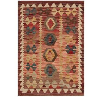 Herat Oriental Afghan Hand-woven Tribal Kilim Salmon/ Brown Wool Rug (2'2 x 3')