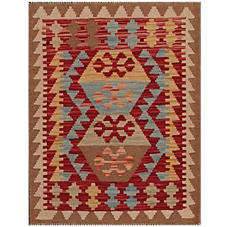 Herat Oriental Afghan Hand-woven Tribal Kilim Red/ Brown Wool Rug (2'3 x 3')