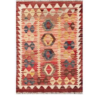 Herat Oriental Afghan Hand-woven Tribal Kilim Salmon/ Maroon Wool Rug (2'1 x 2'10)