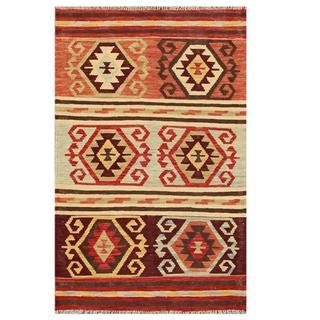 Herat Oriental Afghan Hand-woven Tribal Kilim Beige/ Salmon Wool Rug (3'1 x 4'10)
