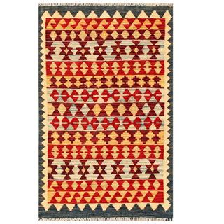 Herat Oriental Afghan Hand-woven Tribal Kilim Red/ Gold Wool Rug (3' x 4'9)