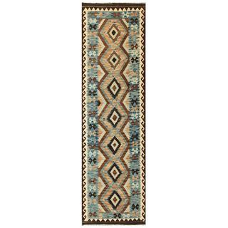 Herat Oriental Afghan Hand-woven Tribal Kilim Blue/ Brown Wool Runner (3' x 9'10)